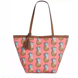 Style & co printed tote coral pineapple